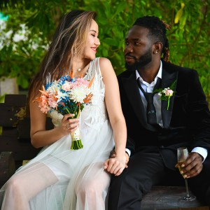 A bride getting married in the Seychelles with Easy Wedding Georgia